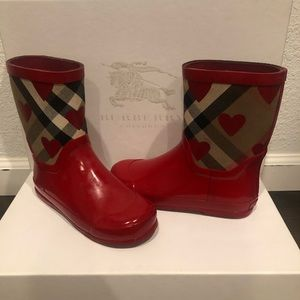 Burberry Girls Red Heart & Check Rain Boots